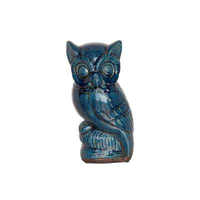 11 in. H Owl Decorative Figurine in Blue Gloss Distressed Finish