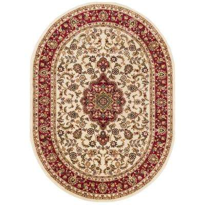 Barclay Medallion Kashan Ivory 6 ft. 7 in. x 9 ft. 6 in. Oval Area Rug