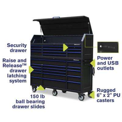 20 in. x 72 in. 26-Drawer Tool Chest and Cabinet Combo with Power and USB Outlets in Black and Blue