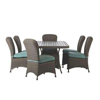 Lake Adela Weathered Grey 7-Piece Patio Dining Set with Surf Cushions