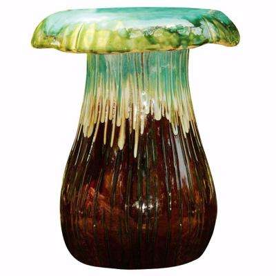 Turquoise and Brown Mushroom Garden Stool-DISCONTINUED