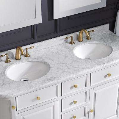 Diana 60 in. W x 21.5 in. D Vanity in Pure White with Marble Vanity Top in Carrera with White Basin