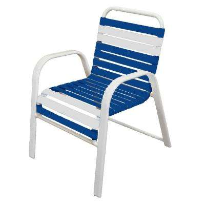 Marco Island White Commercial Grade Aluminum Patio Dining Chair with Blue and White Vinyl Straps (2-Pack)