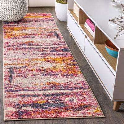 Contemporary POP Modern Abstract Brushstroke Pink/Cream 2 ft. 3 in. x 8 ft. Runner Rug