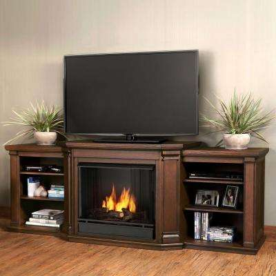 Valmont 76 in. Media Console Ventless Gel Fuel Fireplace in Chestnut Oak