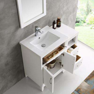 Cambridge 36 in. Vanity in White with Porcelain Vanity Top in White with White Ceramic Basin and Mirror