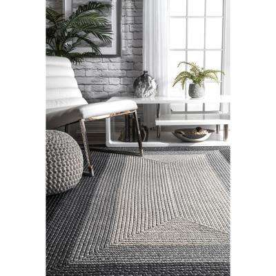 Braided Annemarie Ombre Border Grey 7 ft. 6 in. x 9 ft. 6 in. Area Rug