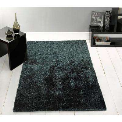 """""""Fuzzy Shaggy"""" Hand Tufted Area Rug in Black Ash (5-ft x 7-ft)"""