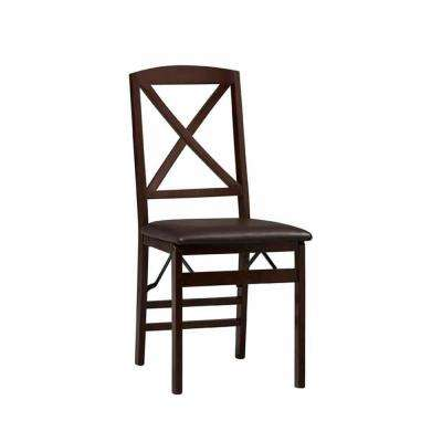 Triena X-Back PU Folding Chair in Espresso