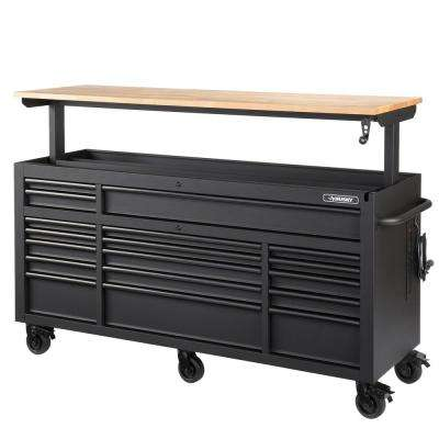 72 in. 18-Drawer Mobile Workbench with Adjustable-Height Solid Wood Top in Matte Black