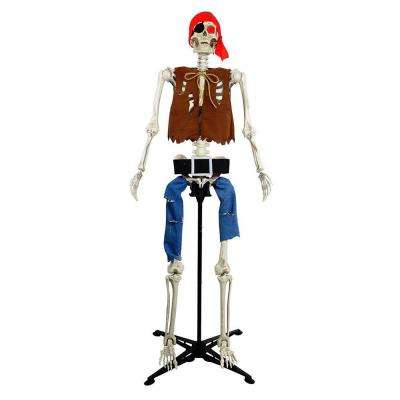 63 in. Poseable Skeleton Pirate with Adjustable Stand