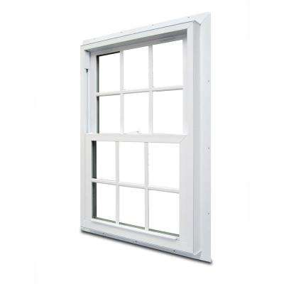 29.75 in. x 52.75 in. 70 Series Double Hung Fin Vinyl Window with Grilles - White