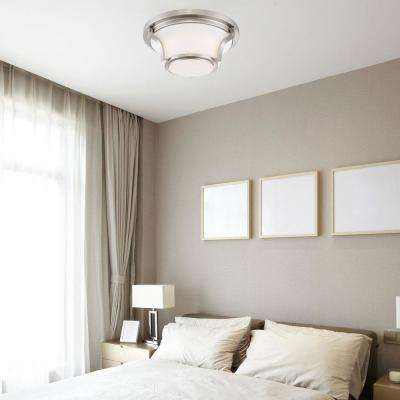 120-Watt Equivalent Brushed Nickel Integrated LED Flush Mount with Frosted White Glass Shade