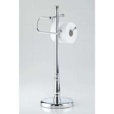 Grand Collection Freestanding Toilet Paper Holder with Euro Rollers in Satin Nickel-DISCONTINUED