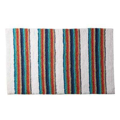 Rainbow Stripe Cotton Bath Rug