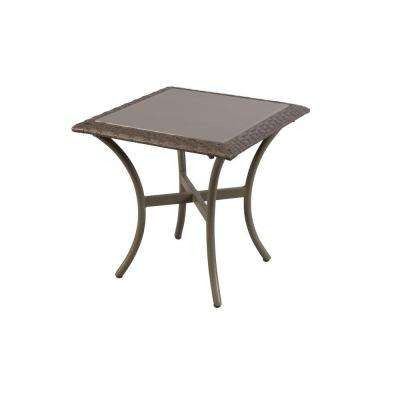 Posada 18 in. Glass Top Patio Side Table