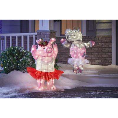 36 in. Christmas Warm White LED Tinsel Dancing Hippo