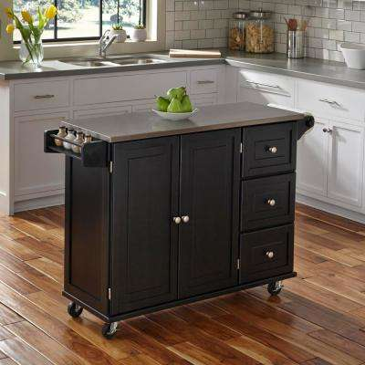 Liberty Black Kitchen Cart with Stainless Top