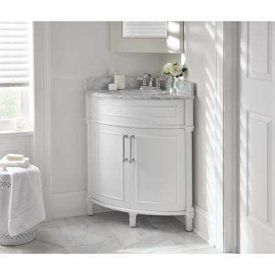 Aberdeen 32 in. W x 23 in. D Corner Vanity in White with Carrara Marble Top with White Sinks