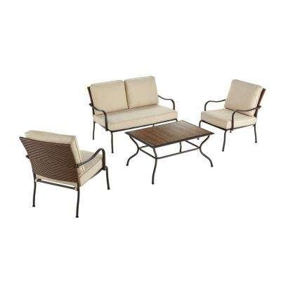 Pin Oak 4-Piece Wicker Outdoor Patio Conversation Set with Oatmeal Cushions