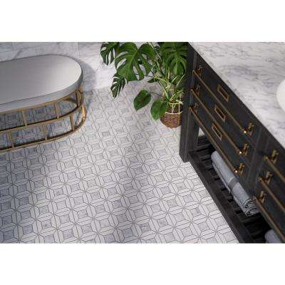 Doheny Thassos Gray 12 in. x 12 in. x 10 mm Basket Weave Marble Wall and Floor Mosaic Tile