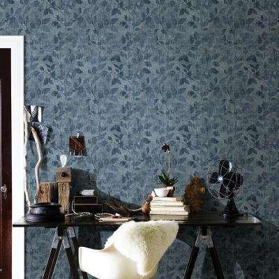 56.4 sq. ft. Gramercy Park Blue Leaf Wallpaper