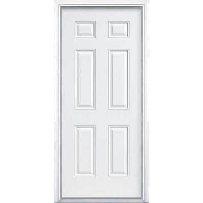6 Panel Primed Steel Security Prehung Front Door With No Brickmold White