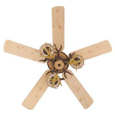 Lodge 52 in. Indoor Nutmeg Ceiling Fan with Light Kit and Remote Control