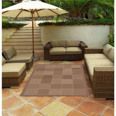 Patio Block Brown 8 ft. x 11 ft. Indoor/Outdoor Area Rug