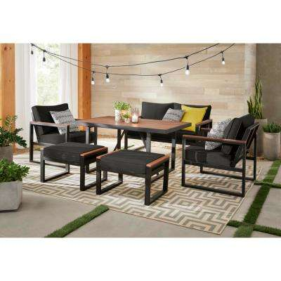 West Park Black Aluminum Outdoor Patio Ottoman with CushionGuard Graphite Dark Gray Cushion (2-Pack)