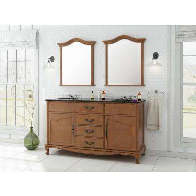 Provence 62 in. W x 22 in. D Vanity in Chestnut with Marble Vanity Top in Black with White Sink