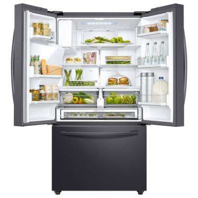28.07 cu. ft. 3-Door French Door Refrigerator in Black Stainless Steel with CoolSelect Pantry