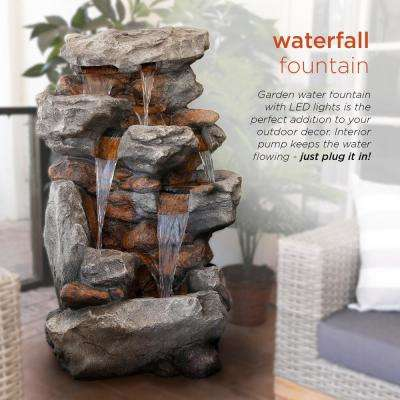 """Alpine Corporation 52"""" Tall Outdoor 5-Tier Rainforest Rock Water Fountain with LED Lights"""