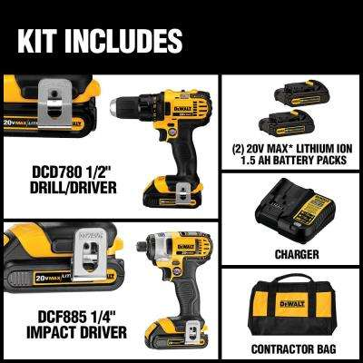 20-Volt MAX Lithium-Ion Cordless Drill/Impact Combo Kit (2-Tool) with (2) Batteries 1.5Ah, Charger and Tool Bag
