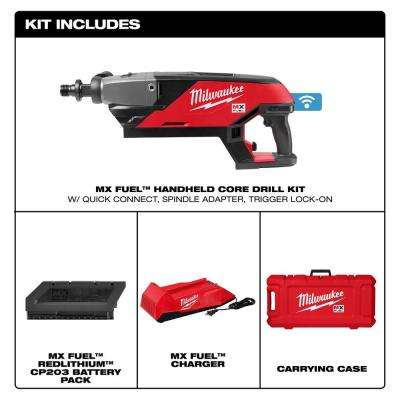 MX FUEL Lithium-Ion Cordless Handheld Core Drill Kit with Battery and Charger