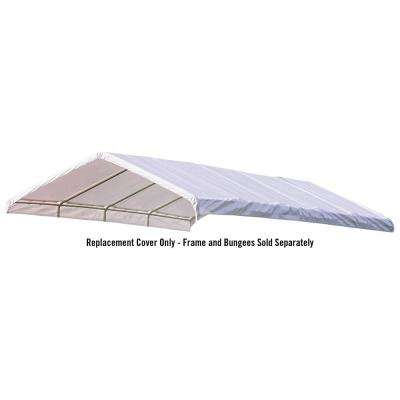 12 ft. W x 30 ft. D SuperMax Premium Canopy Replacement Cover in White with Patented Twist-Tie Tension Feature
