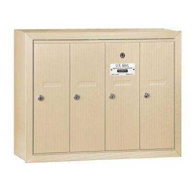 3500 Series Sandstone Surface-Mounted Private Vertical Mailbox with 4 Doors