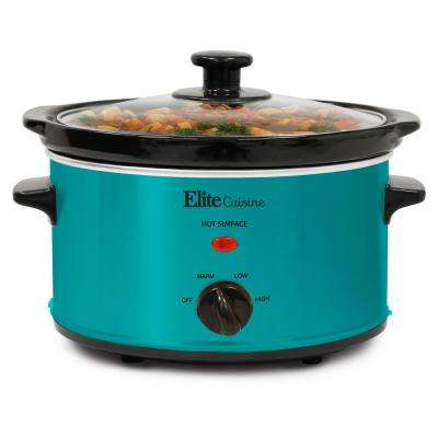 2 Qt. Turquoise Color Oval Slow Cooker