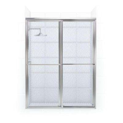 Newport 42 in. to 43.625 in. x 70 in. Framed Sliding Shower Door with Towel Bar in Chrome with Aquatex Glass