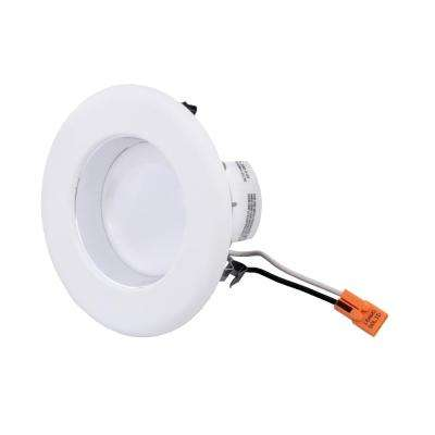 4 in. White Integrated LED Recessed Ceiling Light with Specular Clear Cone on Trim Ring, 3500K, 94 CRI