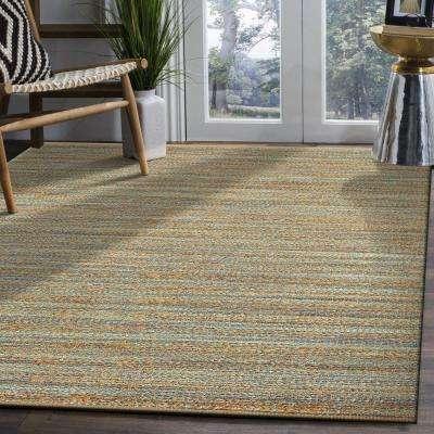 Natural Fiber Teal Rectangle 5 ft. x 8 ft. Plush Indoor Area Rug