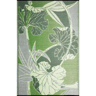 Blossom Green/Grey 9 ft. x 12 ft. Designer Outdoor RV/Camping/Patio Reversible Area Rug