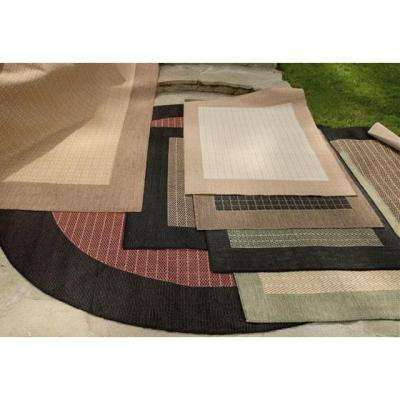 Checkered Field Natural and Green 5 ft. x 8 ft. Area Rug