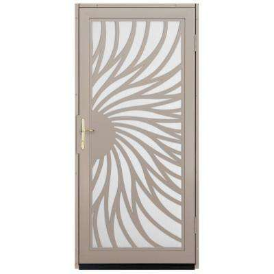 Solstice Outswing Security Door with Perforated Screen and Satin Nickel Hardware