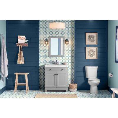 Everdean 31 in. W Vanity in Pearl Gray with Cultured Marble Vanity Top in White with White Sink and Mirror