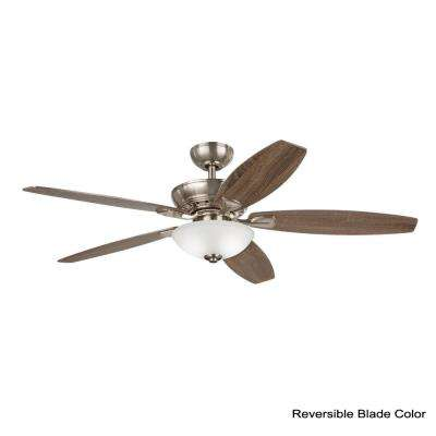 Connor 54 in. LED Satin Nickel Dual-Mount Ceiling Fan with Light Kit and Remote Control