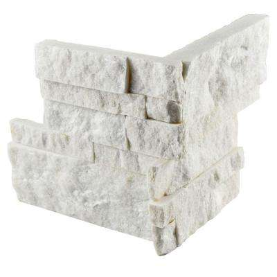 Ledger Panel White Quartzite Corner 7 in. x 7 in. Natural Stone Wall Tile