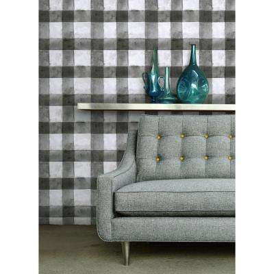28.29 sq. ft. Buffalo Plaid Black Peel and Stick Wallpaper