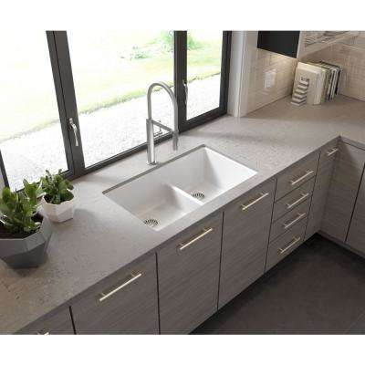 Glacier Bay Drop-in/Undermount Granite Composite 33 in. 1-Hole 50/50 Double Bowl Kitchen Sink with Low Divide White