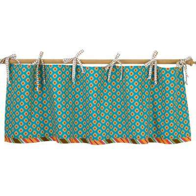 16 in. L Turquoise Floral Cotton Gypsy Straight Valance in Blue